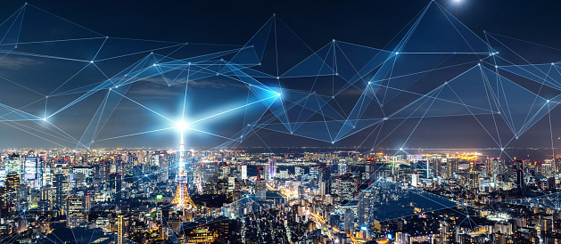 1013969318 istock photo Smart city and communication network concept. IoT(Internet of Things). ICT(Information Communication Network). 1013558556