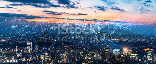istock Smart city and communication network concept. IoT(Internet of Things). ICT(Information Communication Network). 1013558568