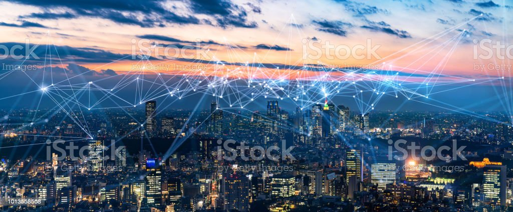 Smart city and communication network concept. IoT(Internet of Things). ICT(Information Communication Network). stock photo