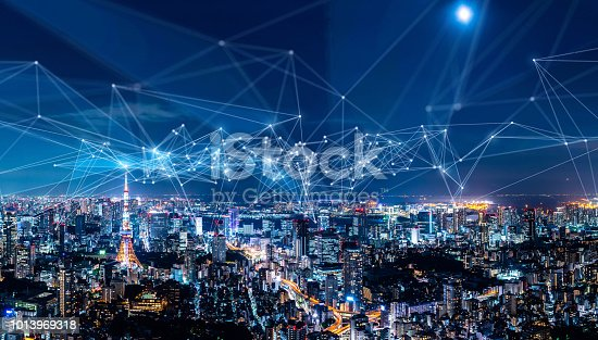 istock Smart city and communication network concept. IoT(Internet of Things). ICT(Information Communication Network). 1013969318