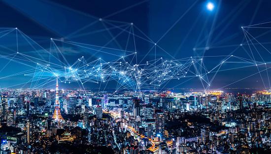 Smart City And Communication Network Concept Iot — стоковые фотографии и другие картинки Абстрактный