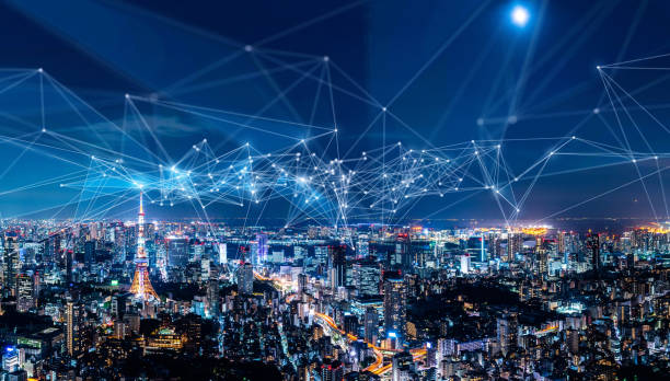 smart city and communication network concept. iot(internet of things). ict(information communication network). - futuristic technology imagens e fotografias de stock