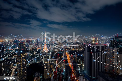 620974266 istock photo Smart city and communication network concept of Tokyo,Japan 1204939007