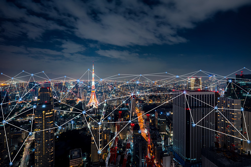 872670560 istock photo Smart city and communication network concept of Tokyo,Japan 1204939007