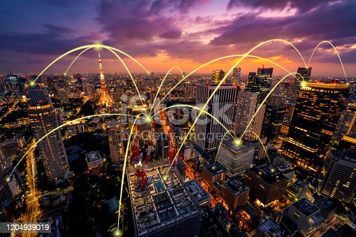 620974266 istock photo Smart city and communication network concept of Tokyo,Japan 1204939019