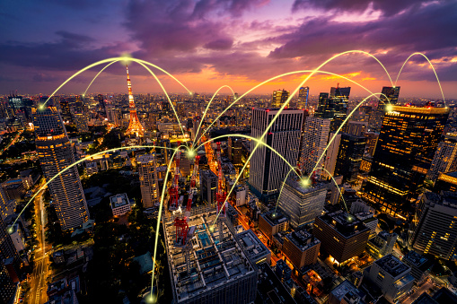 872670560 istock photo Smart city and communication network concept of Tokyo,Japan 1204939019