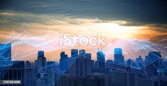 istock Smart city and communication network concept. 1092964686