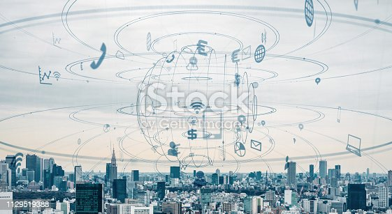 1129543876 istock photo Smart city and communication network concept. 1129519388