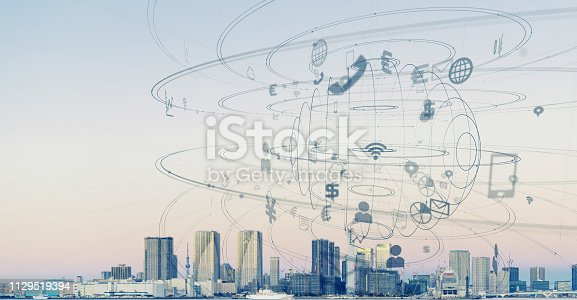 istock Smart city and communication network concept. 1129519394
