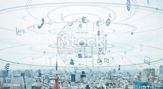 1129543876 istock photo Smart city and communication network concept. 1129519404