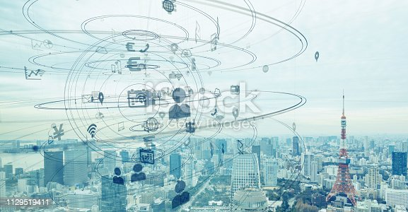 1129543876 istock photo Smart city and communication network concept. 1129519411