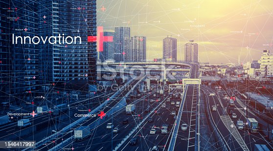 istock Smart city and communication network concept. 1146417997