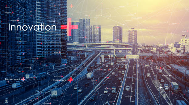 Smart city and communication network concept. stock photo