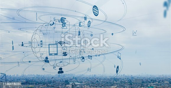 1129543866 istock photo Smart city and communication network concept. 1146418034
