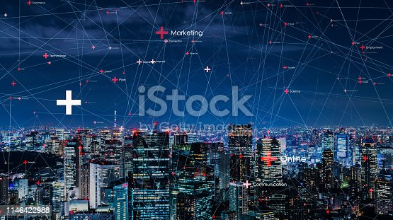 1129543876 istock photo Smart city and communication network concept. 1146422988