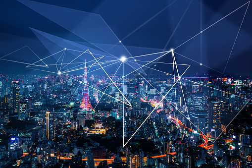 1013969318 istock photo Smart city and communication network concept 1164914780