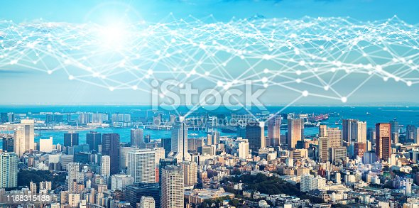622809570 istock photo Smart city and communication network concept. 1168315188