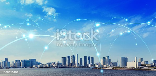 istock Smart city and communication network concept. 1168315192