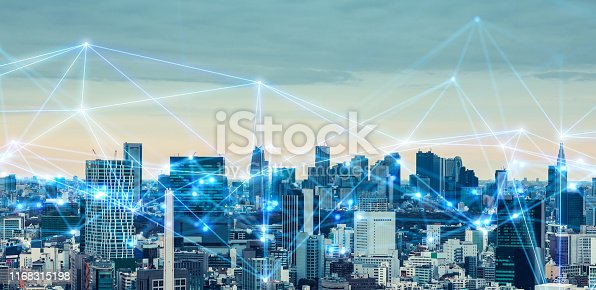622809570 istock photo Smart city and communication network concept. 1168315198