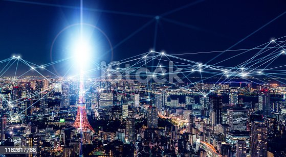 622809570 istock photo Smart city and communication network concept. 1182617766