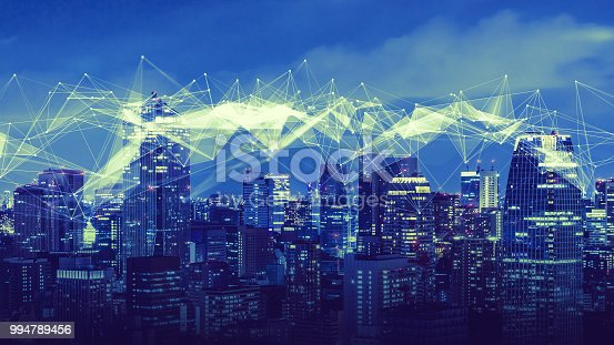 istock Smart city and communication network concept. 994789456