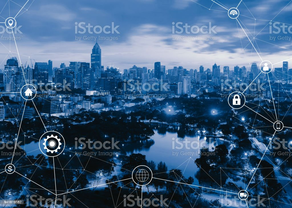 Smart city and connection lines. Circle pointers, infographic template and connection lines in Bangkok City, Thailand stock photo