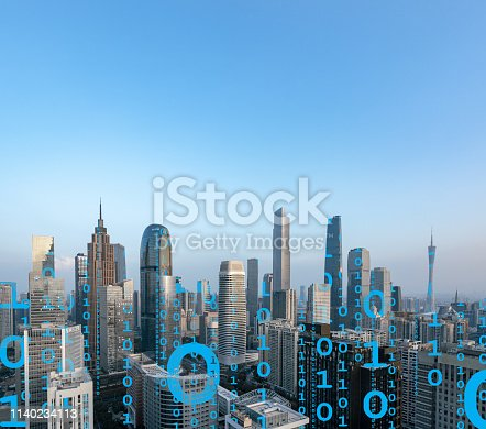 istock Smart city and connection lines 1140234113