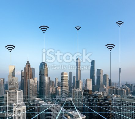istock Smart city and connection lines 1140234236