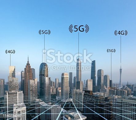 istock Smart city and connection lines 1140234237