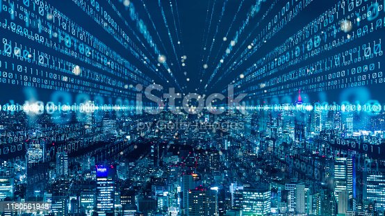 istock Smart city and digital communication network concept. Binary code. 5G.  Wireless communication. 1180561948