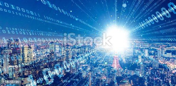 istock Smart city and digital communication network concept. Binary code. 5G.  Wireless communication. 1180561951