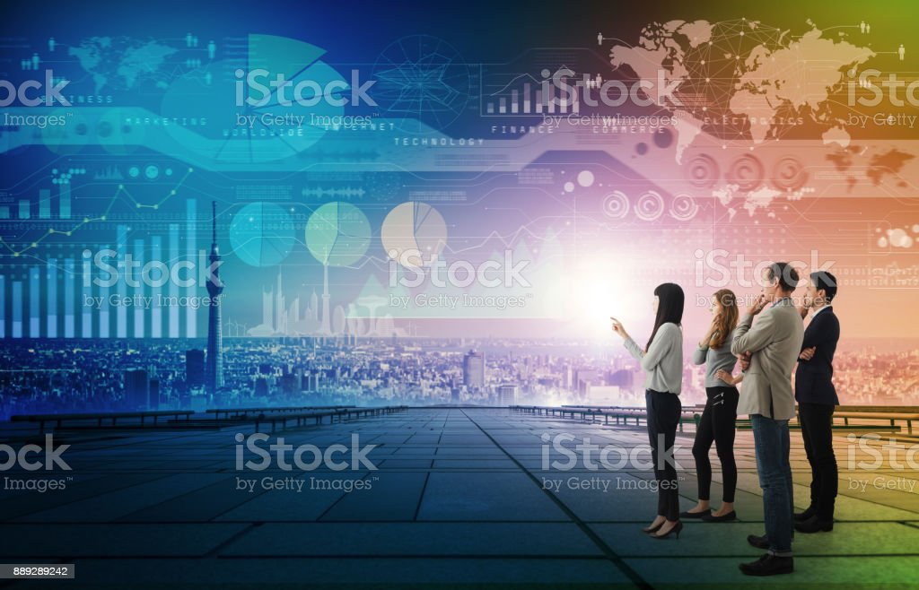 Smart city and engineering concept. stock photo