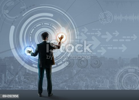 istock smart city and futuristic graphical user interface, abstract image visual 694392856