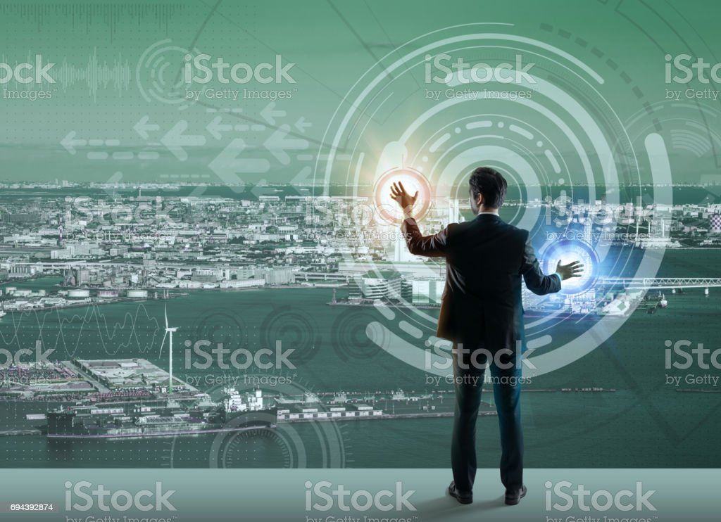 smart city and futuristic graphical user interface, abstract image visual stock photo