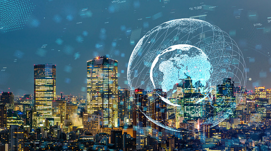 813402032 istock photo Smart city and global communication network concept. 1092964660