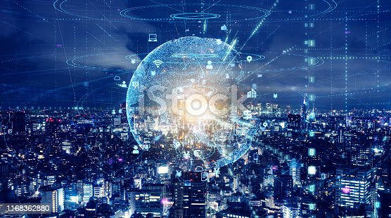 istock Smart city and global communication network concept. 1168362880