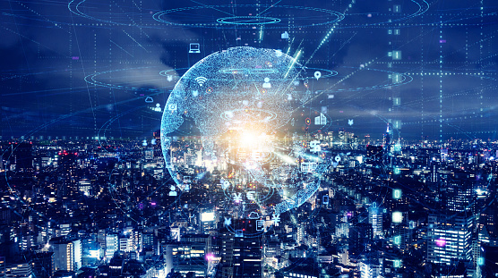 872670560 istock photo Smart city and global communication network concept. 1168362880