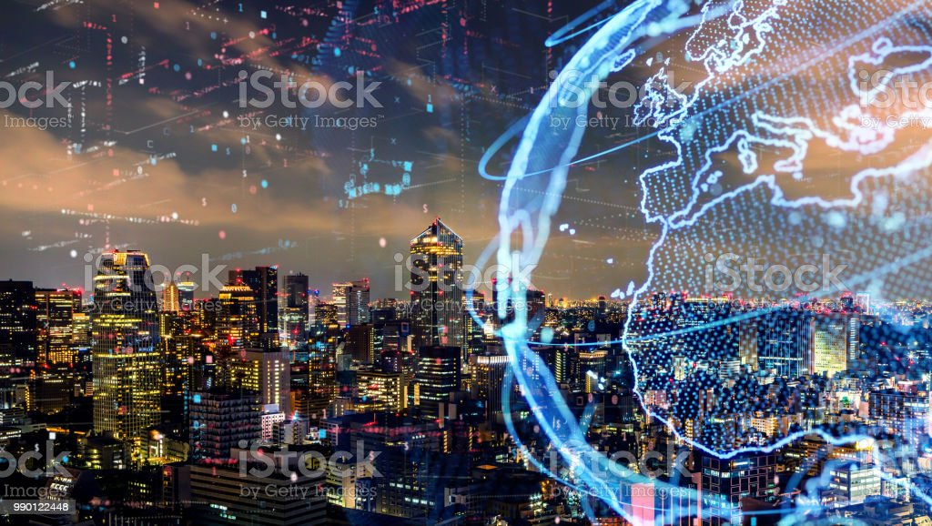 Smart city and global network concept. IoT(Internet of Things). ICT(Information Communication Technology). Smart city and global network concept. IoT(Internet of Things). ICT(Information Communication Technology). Abstract Stock Photo