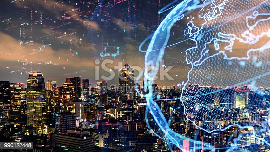 1004013316 istock photo Smart city and global network concept. IoT(Internet of Things). ICT(Information Communication Technology). 990122448