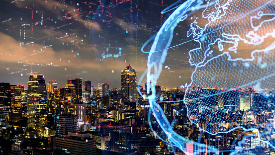 istock Smart city and global network concept. IoT(Internet of Things). ICT(Information Communication Technology). 990122448