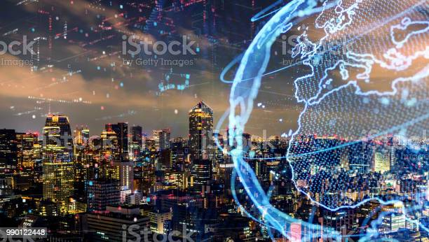 Smart City And Global Network Concept Iot Stock Photo - Download Image Now