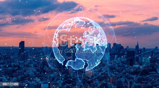 1004013316 istock photo Smart city and global network concept. IoT(Internet of Things). ICT(Information Communication Technology). 990122486