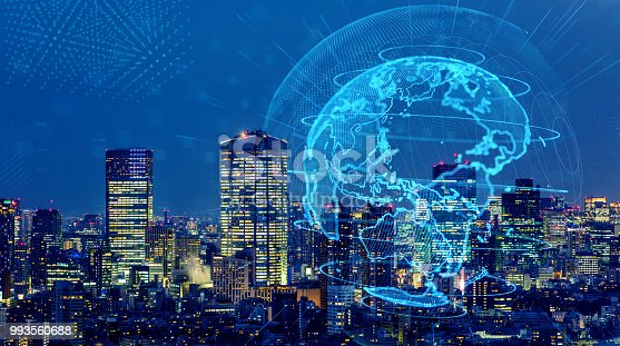 1004013316 istock photo Smart city and global network concept. IoT(Internet of Things). ICT(Information Communication Technology). 993560688