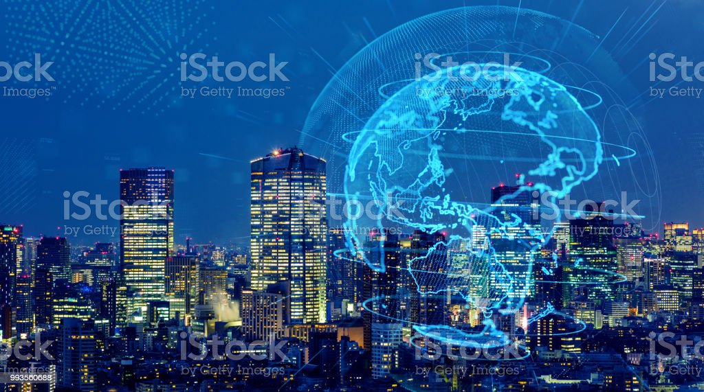 Smart city and global network concept. IoT(Internet of Things). ICT(Information Communication Technology). stock photo