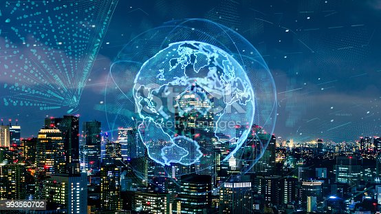 1004013316 istock photo Smart city and global network concept. IoT(Internet of Things). ICT(Information Communication Technology). 993560702