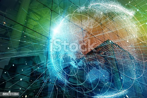 istock Smart city and global network concept. 889231094