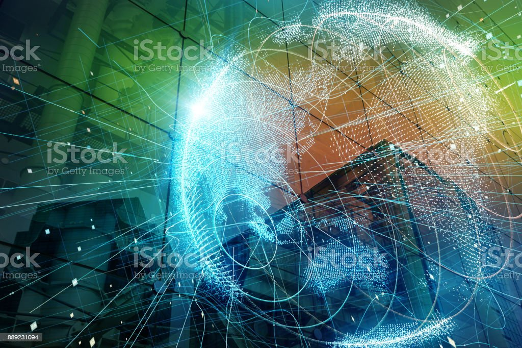 Smart city and global network concept. - foto stock