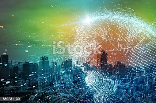889231130istockphoto Smart city and global network concept. 889231130