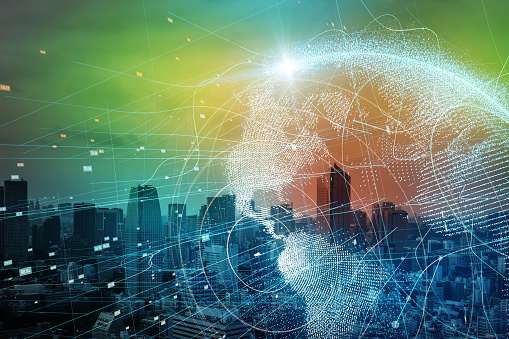 istock Smart city and global network concept. 889231130