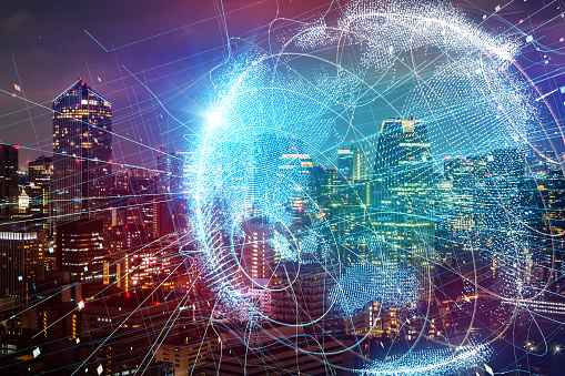 872670560 istock photo Smart city and global network concept. 889231160